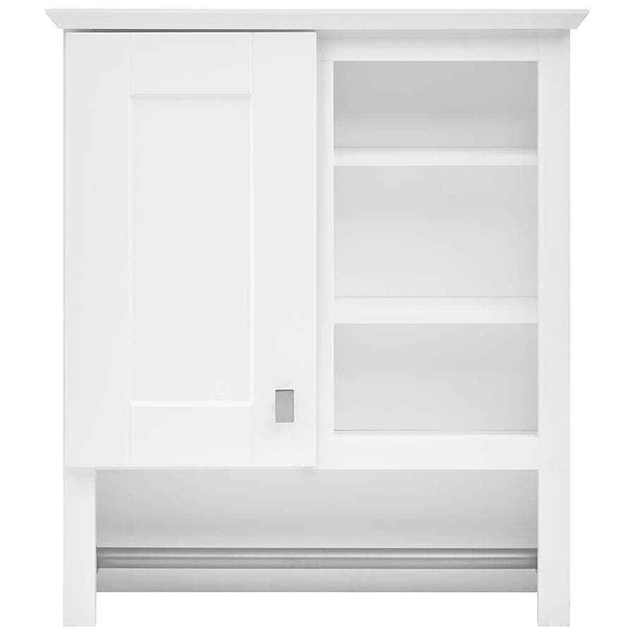 Wall Cabinets For Bathrooms Style Selections 24 5 In W X 29 In H X 7 66 In D White Bathroom