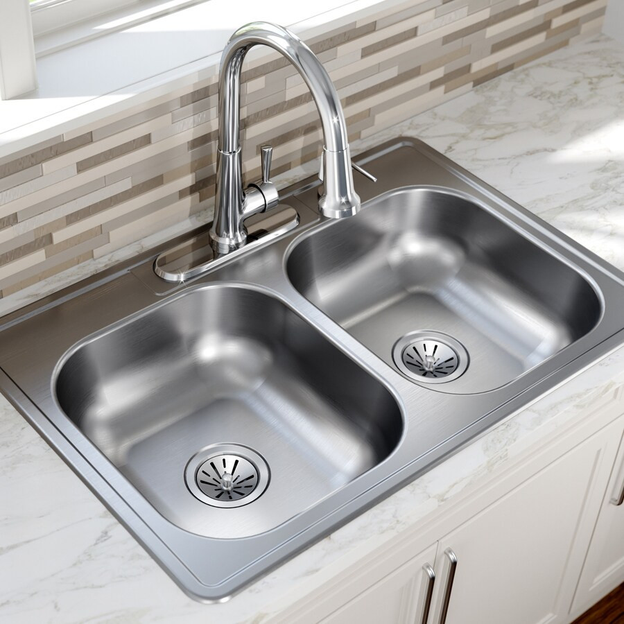 kingsford drop in 33 in x 22 in satin double equal bowl 4 hole kitchen sink