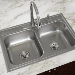 Kitchen Drain Matte Black Faucet Dayton 33 In X 22 Satin Double Basin Drop 4 Hole Residential Sink