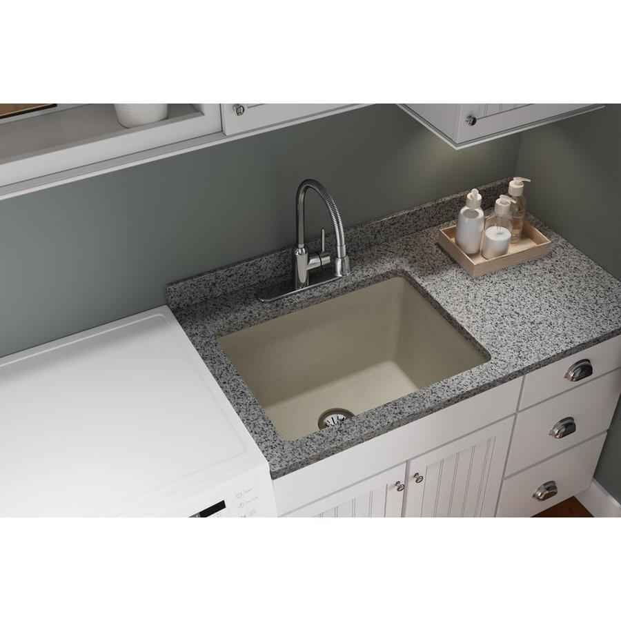 elkay quartz classic undermount 25 in x 18 5 in bisque single bowl kitchen sink in the kitchen sinks department at lowes com