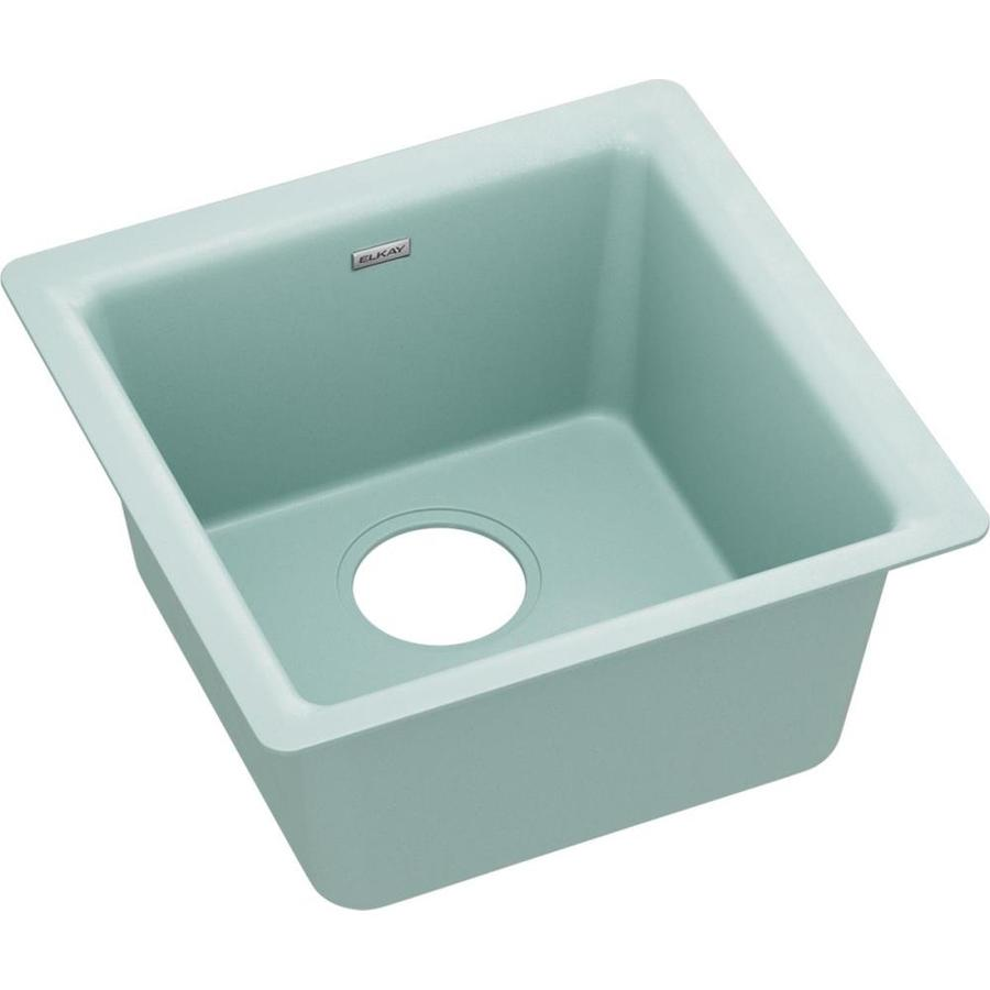 https www lowes com pd elkay quartz luxe 15 748 in x 15 748 in mint crme single bowl drop in or undermount residential kitchen sink 1003138420