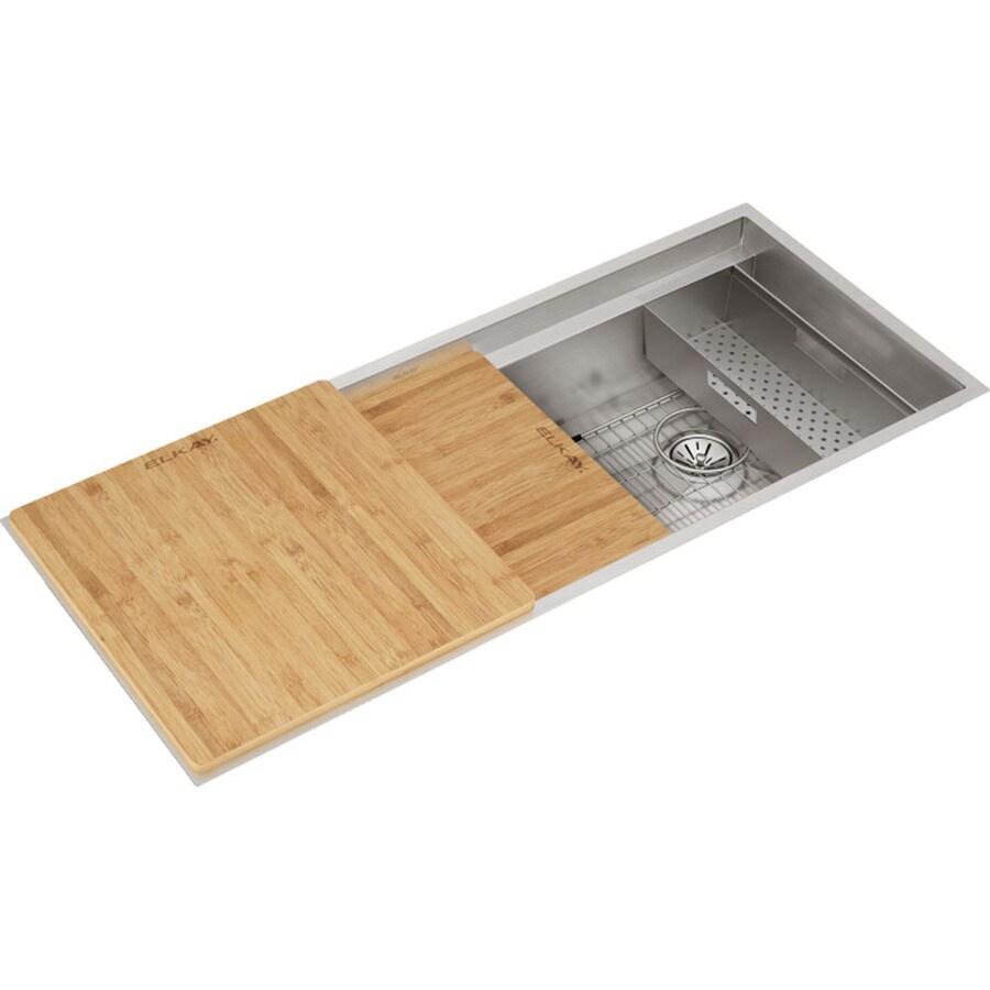 elkay circuit chef undermount 43 in x 18 in stainless steel single bowl workstation kitchen sink