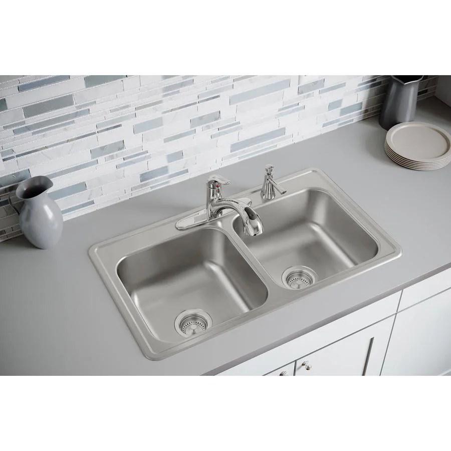 19x33 kitchen sink window decor elkay dayton 33 in x 19 elite satin double basin drop 4 hole