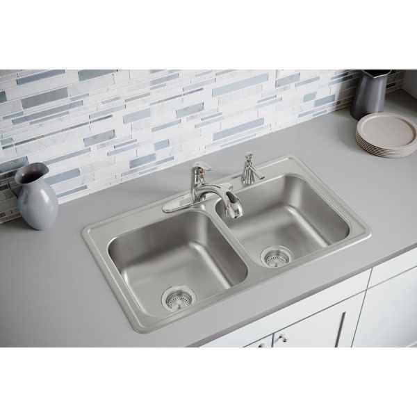 Elkay Dayton 33-in X 19-in Elite Satin Double-basin Drop-in 4-hole Residential Kitchen Sink