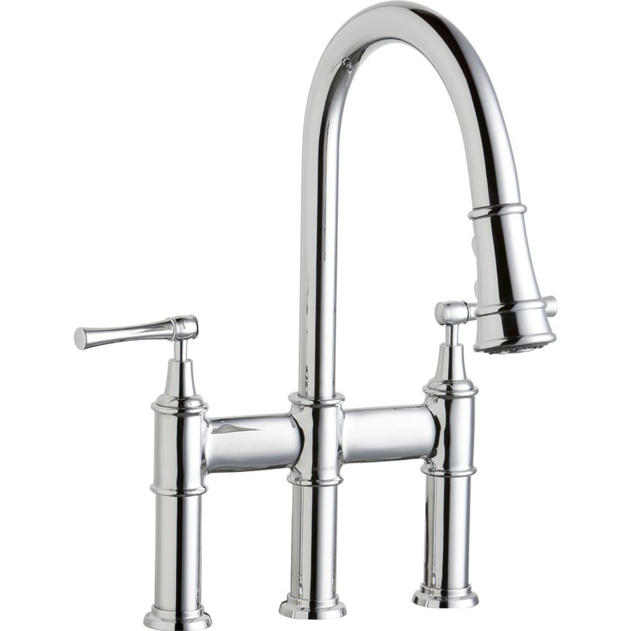 two handle kitchen faucet cabinets painted elkay explore chrome 2 deck mount pull down at