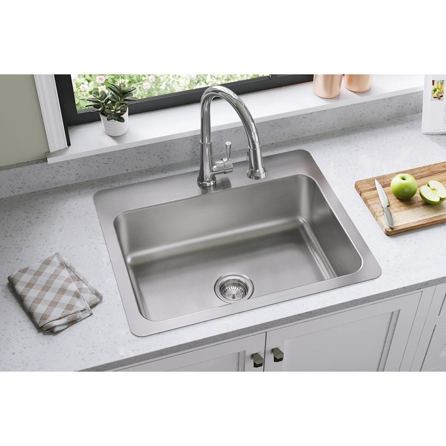 27 kitchen sink cabinet drawer boxes elkay gourmet in x 22 elite satin single basin drop or undermount 1 hole residential