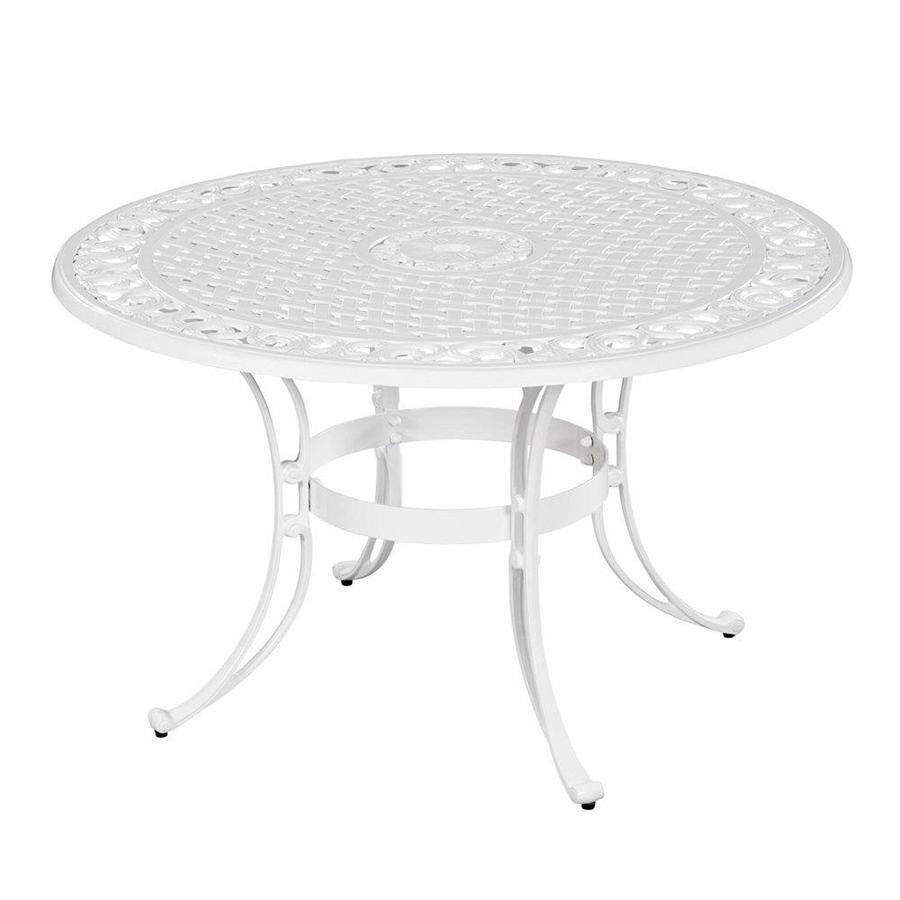 home styles biscayne round outdoor dining table 48 in w x 48 in l with umbrella hole