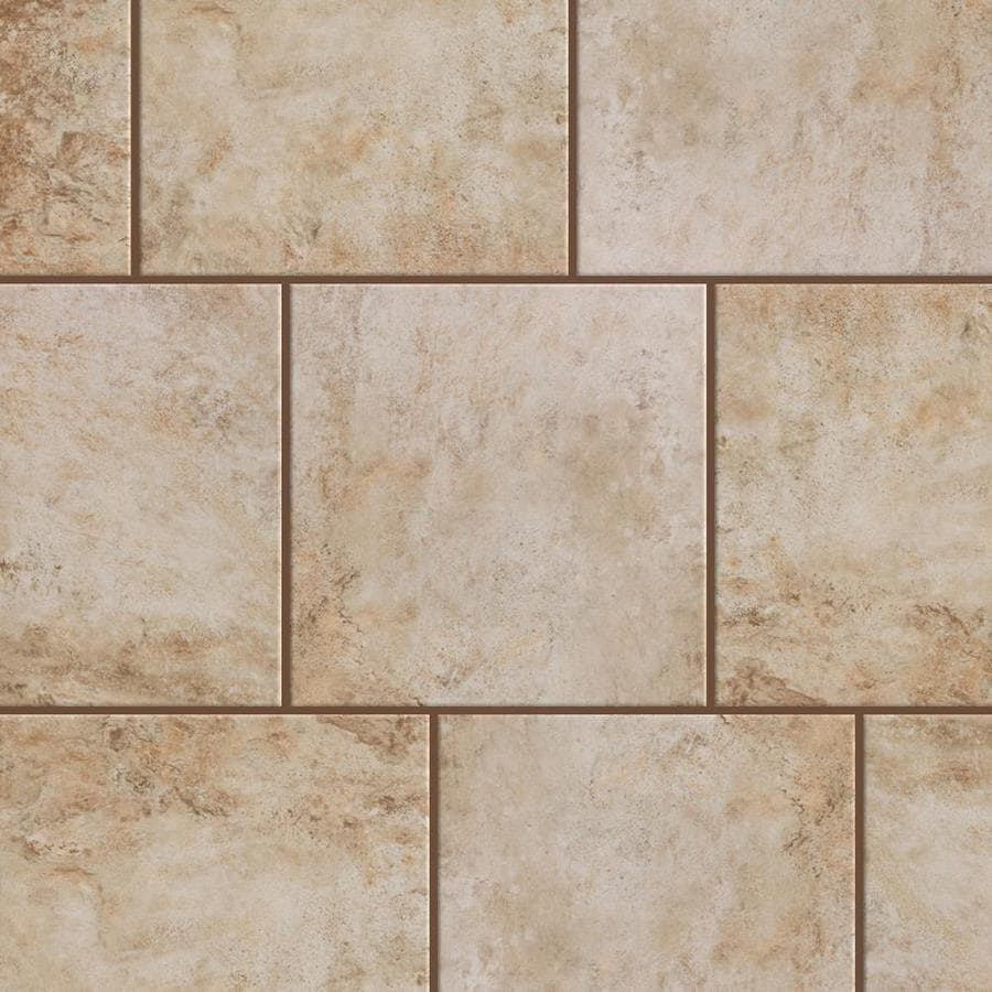 style selections mesa beige 12 in x 12 in glazed porcelain stone look floor and wall tile