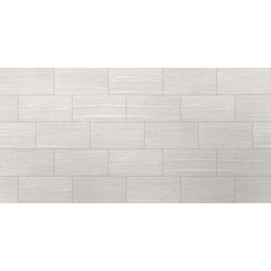 Style Selections Leonia Silver 12in x 24in Porcelain Floor and Wall Tile Common 12in x 24