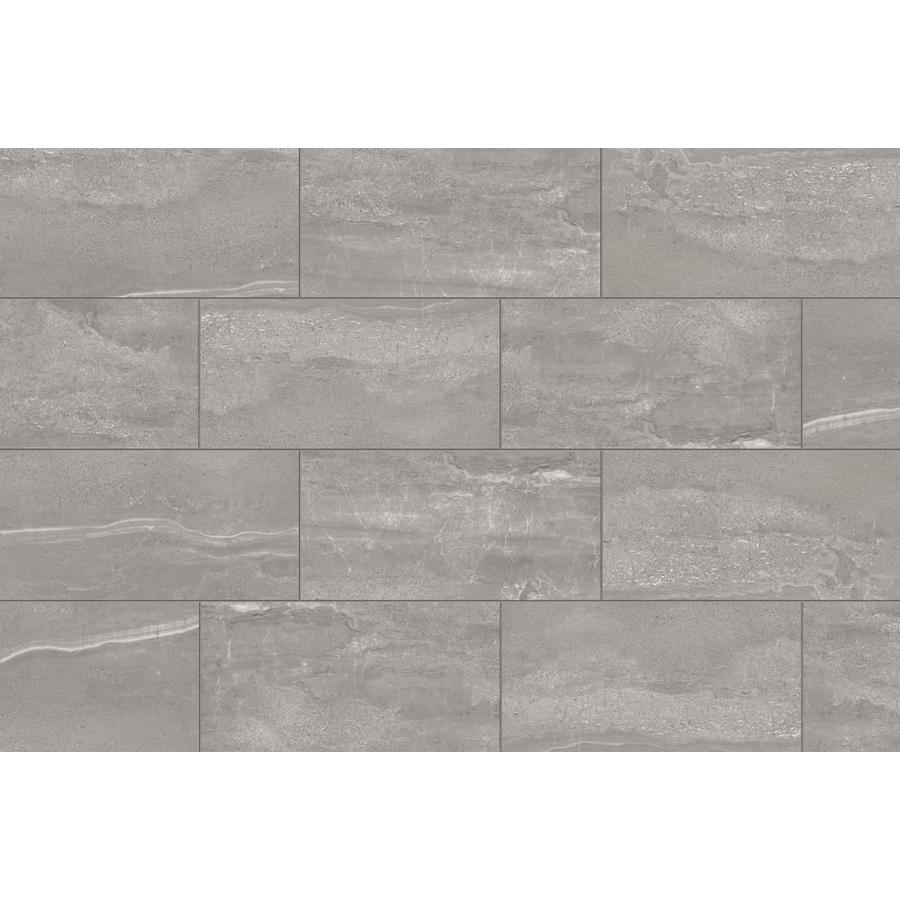 style selections skyros gray 12 in x 24 in glazed porcelain stone look floor and wall tile