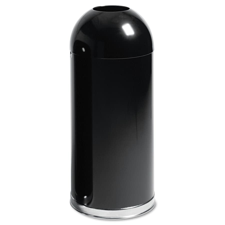 rubbermaid kitchen trash cans gold sink shop commercial products 15-gallon black/chrome ...