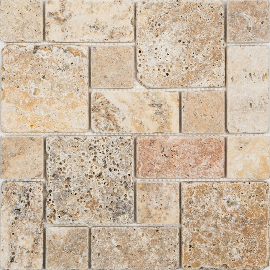 satori scabos 12 in x 12 in tumbled natural stone travertine mixed pattern stone look floor and wall tile lowes com