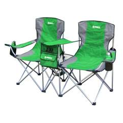 Double Seat Folding Chair Cowhide Accent Gigatent Green Steel Side By Camping At