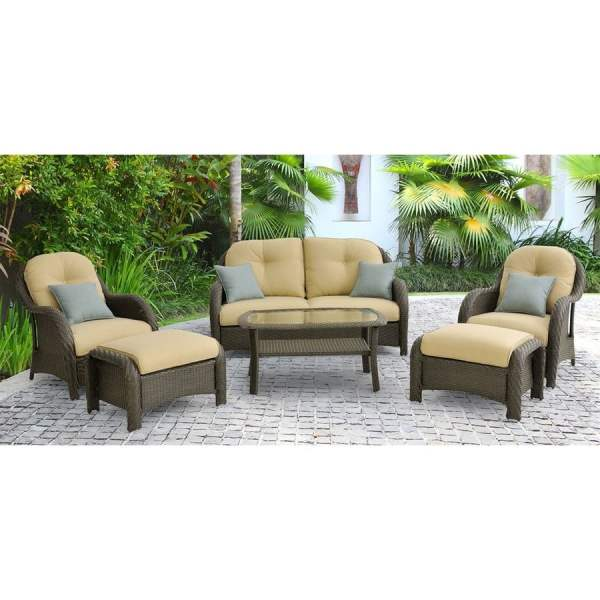 Hanover Outdoor Furniture Newport 6-piece Wicker Frame Patio Conversation Set With Tan Cushions