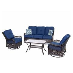 Patio Chair Cushions Lowes Target Fold Up Chairs Shop Hanover Outdoor Furniture Orleans 4-piece Wicker Conversation Set With Navy ...