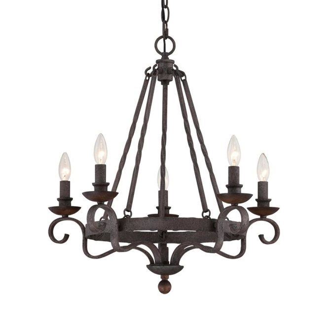 Quoizel Le 24 In 5 Light Rustic Black Mediterranean Candle Chandelier