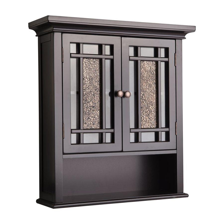 Elegant Home Fashions Windsor 22in W x 24in H x 7in D Dark espresso Bathroom Wall Cabinet at