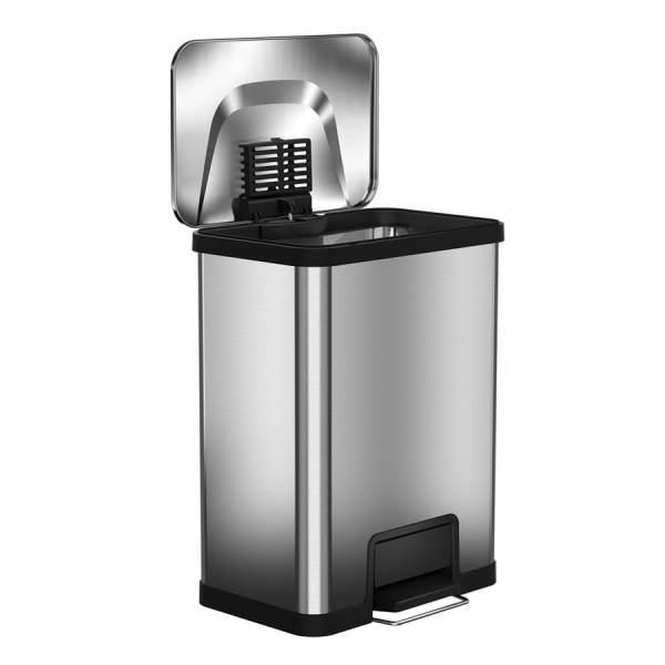 Myhalo Airstep 13-gallon Stainless Steel Black Trash With Lid