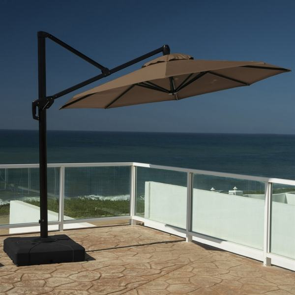 Rst Brands Chestnut Brown Offset 10-ft Patio Umbrella With Base