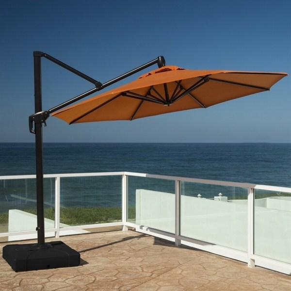 Rst Brands Tikka Orange Offset 10-ft Patio Umbrella With Base
