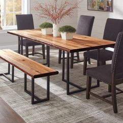Live Edge Kitchen Table Hanging Lights For Scott Living Natural Honey Wood Dining At Lowes Com