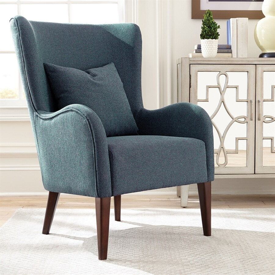 Teal Wingback Chair Scott Living Midcentury Dark Teal Cappuccino Wingback Chair At