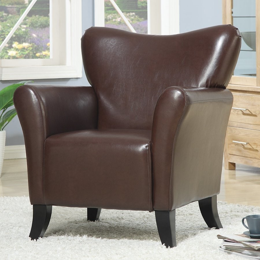 leather wingback chairs spandex chair covers folding coaster fine furniture casual brown faux at