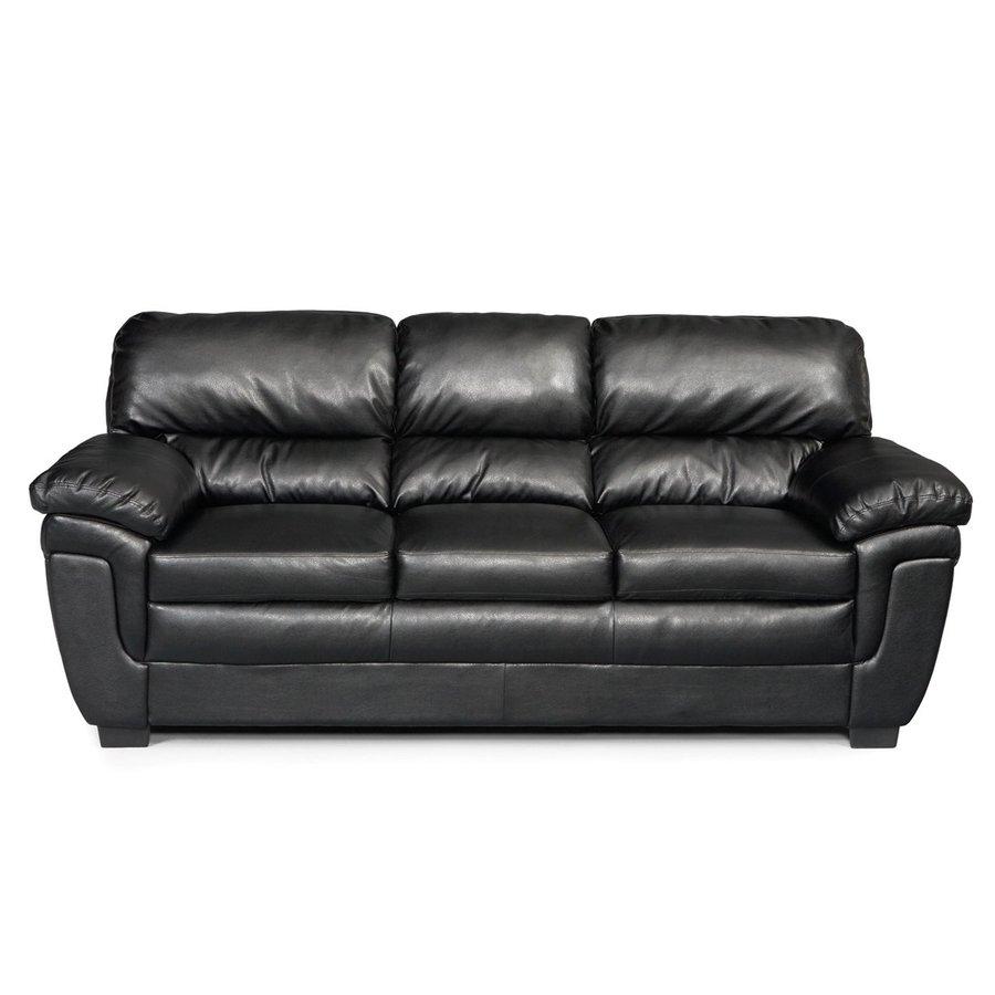Coaster Fine Furniture Fenmore Casual Black Faux Leather Sofa at Lowescom