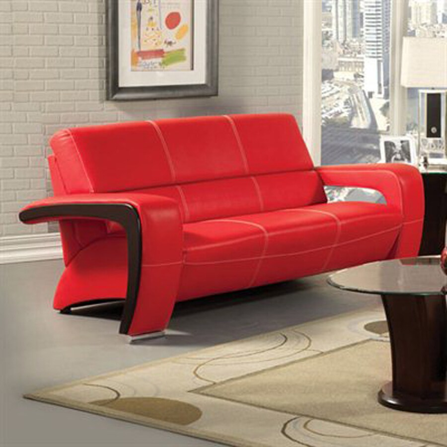 black and red leather sofa prague 2 seater fabric furniture of america enez modern faux at