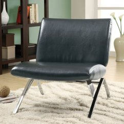 Modern Leather Accent Chairs Lawn Chair With Footrest Monarch Specialties Black Faux At Lowes Com