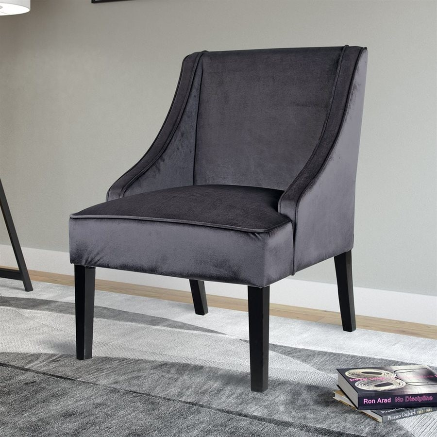 Velvet Slipper Chair Corliving Antonio Casual Dark Grey Velvet Slipper Chair At Lowes