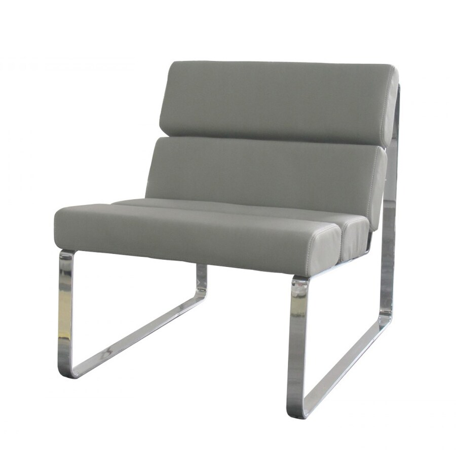 modern leather accent chairs chair cushion covers with zippers whiteline imports angel gray faux at