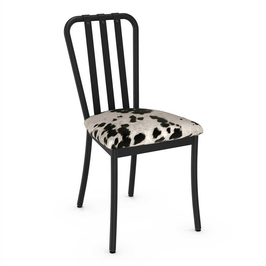 black and white cowhide chair round theater amisco set of 2 club contemporary faux side chairs