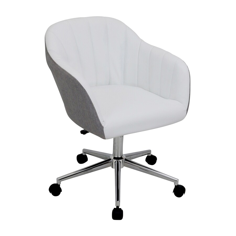 contemporary office chairs wedding chair cover hire lake district lumisource shelton grey white desk at lowes com