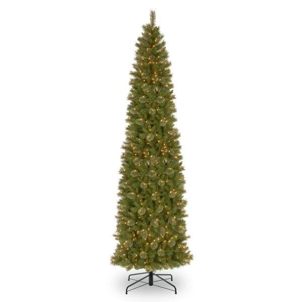National Tree Company 12-ft Pre-lit Slim Artificial Christmas With 850 Constant White Clear