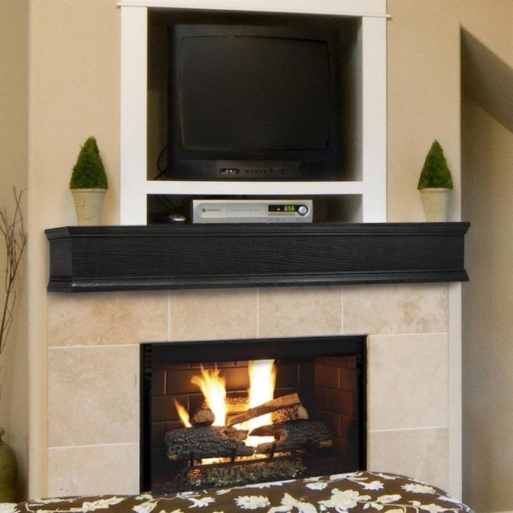 Pearl Mantels Winchester 72-in W H x 9-in D Ebony Wash Oak Contemporary  Fireplace Mantel