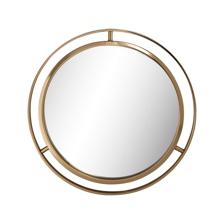 Glitzhome Modern Glam 24-in L x 24-in W Round Gold Framed Wall Mirror in the Mirrors department at Lowes.com