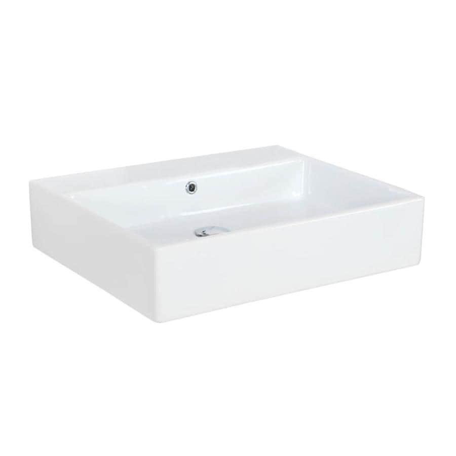 ws bath collections simple ceramic white ceramic wall mount rectangular bathroom sink with overflow drain 23 6 in x 19 7 in