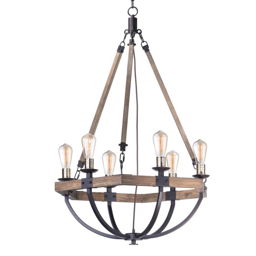 maxim lighting lodge 6 light weathered oak bronze transitional chandelier