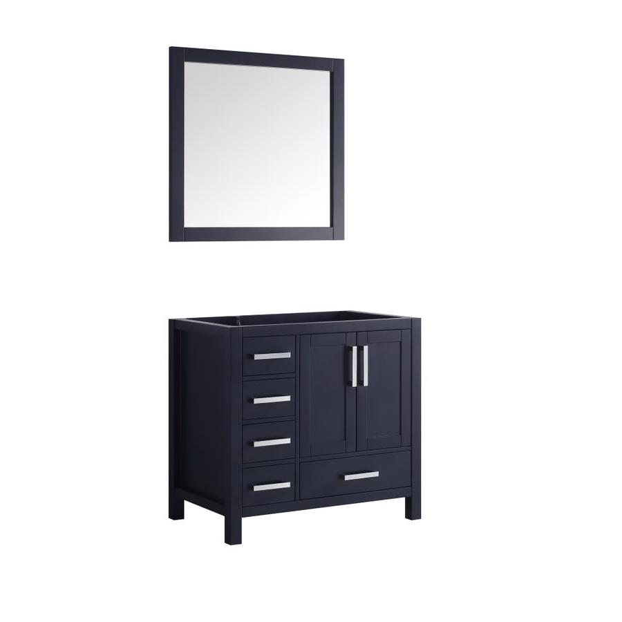 Lexora Jacques 35 In Navy Blue Bathroom Vanity Cabinet Mirror Included In The Bathroom Vanities Without Tops Department At Lowes Com