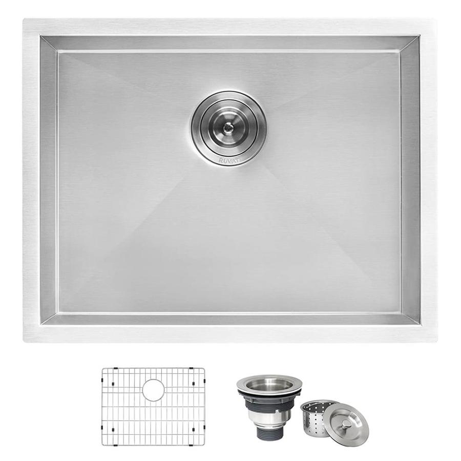 ruvati 18 in x 21 in 1 basin brushed stainless steel undermount utility tub with drain