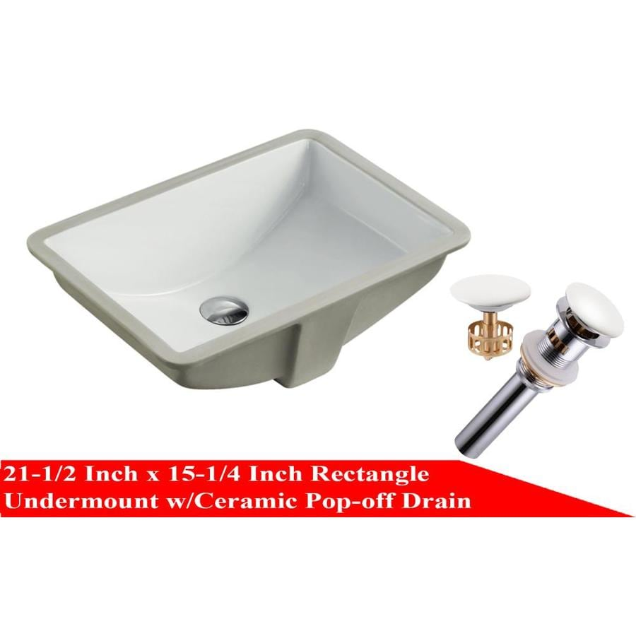 kingsman hardware white ceramic undermount rectangular bathroom sink with overflow drain drain included 21 5 in x 15 25 in