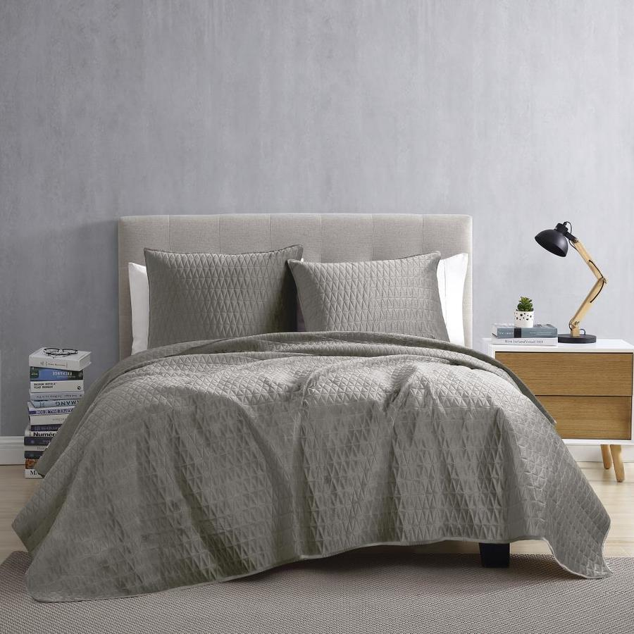 brielle home gibson 3 piece light grey twin quilt set in the bedding sets department at lowes com