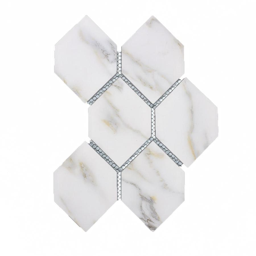 abolos nature 10 pack calacatta gold white matte 12 in x 12 in matte glass honeycomb marble look wall tile