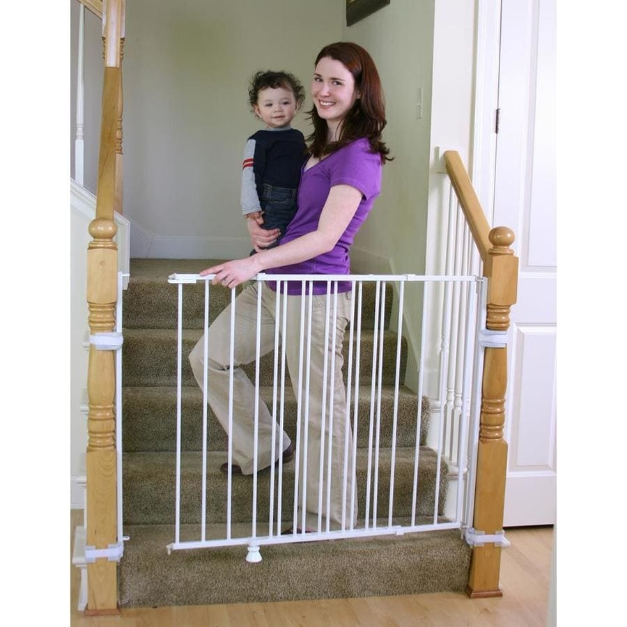 Regalo Regalo Extra Tall Top Of Stairs Safety Gate In The Child | Steel Gates And Stairs | Dreamstime | Handrail | Stainless Steel | Fence Gate | Egress