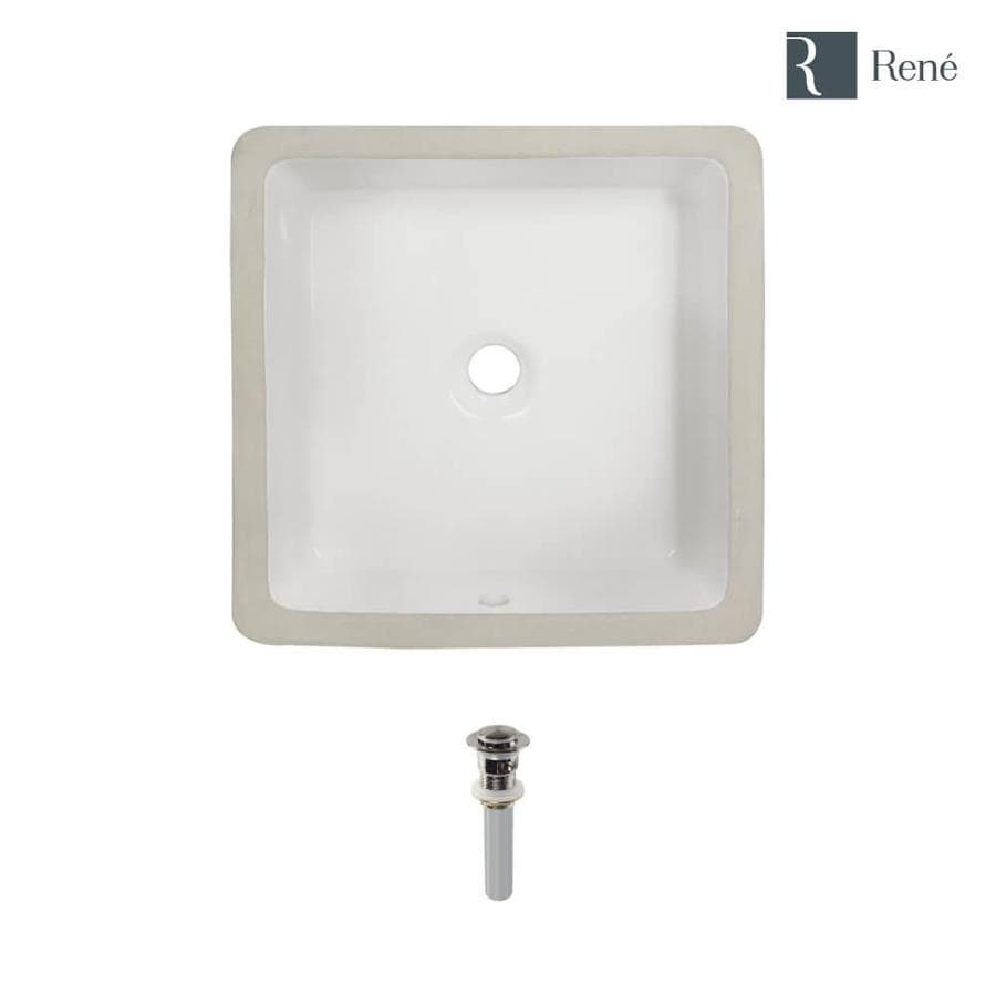 rene biscuit porcelain undermount square bathroom sink with overflow drain drain included 16 in x 16 in