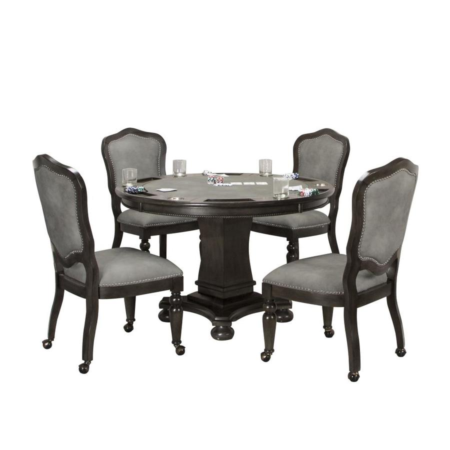 Sunset Trading Sunset Trading 5 Piece Vegas Dining And Poker Table Set Reversible Game Top Gray Wood Caster Chairs With Nailheads In The Dining Room Sets Department At Lowes Com
