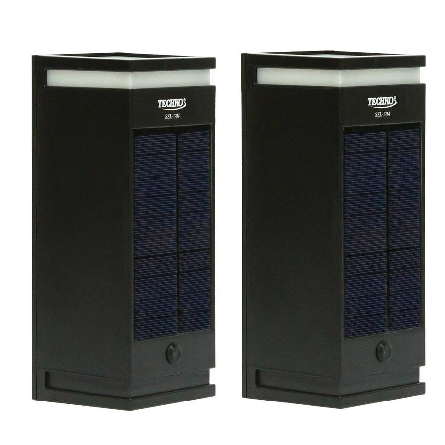 techko 2 pack 9 25 in h black solar led outdoor wall light