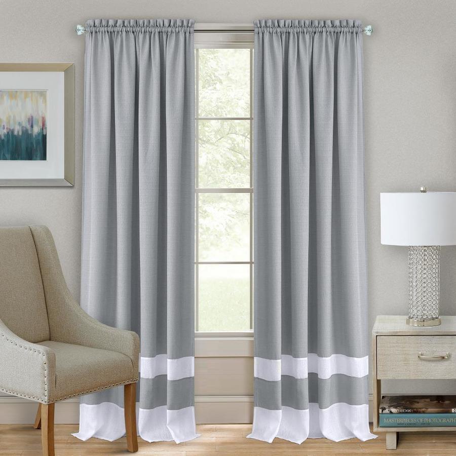 achim 63 in grey white polyester light filtering rod pocket single curtain panel