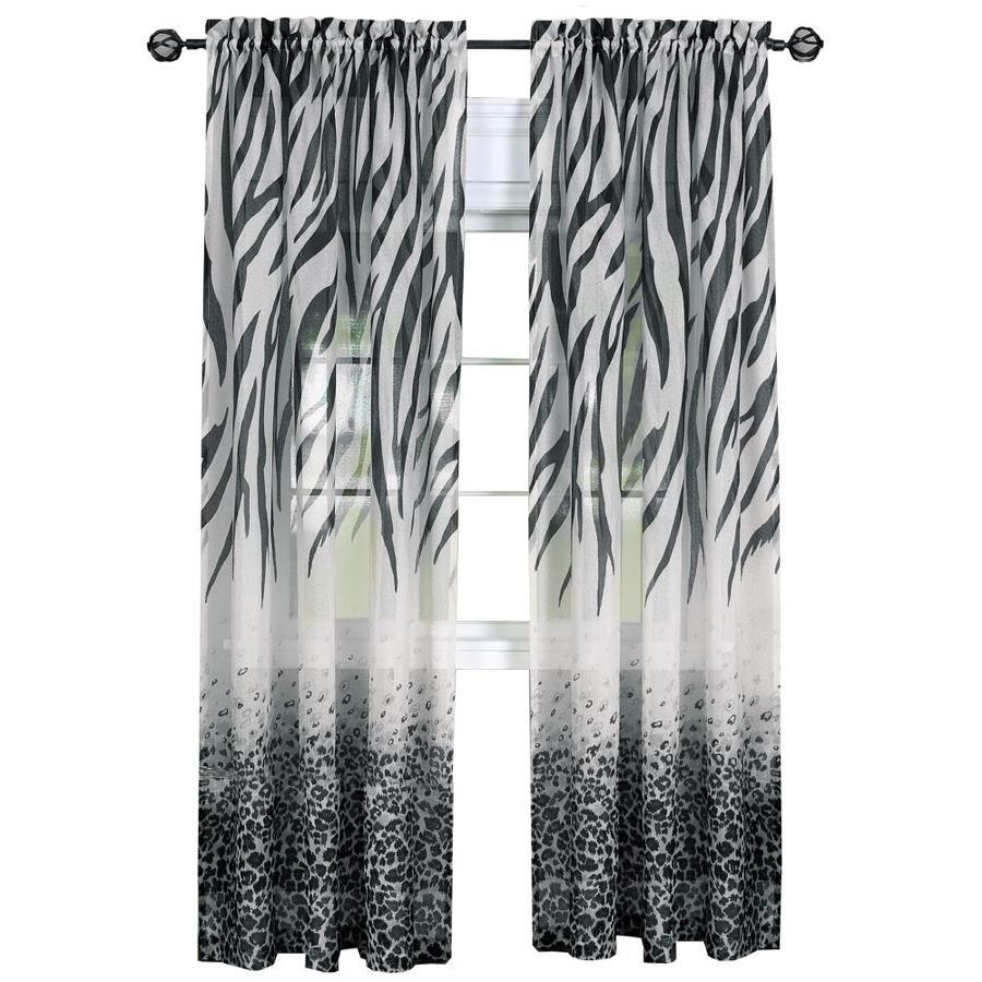 achim 84 in black multi polyester light filtering rod pocket single curtain panel